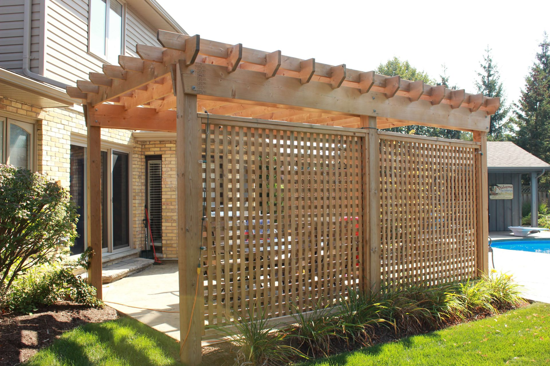 Back yard wooden privacy wall