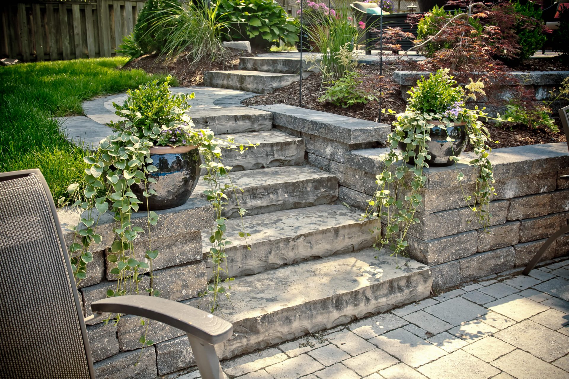 Small staircase to lower backyard
