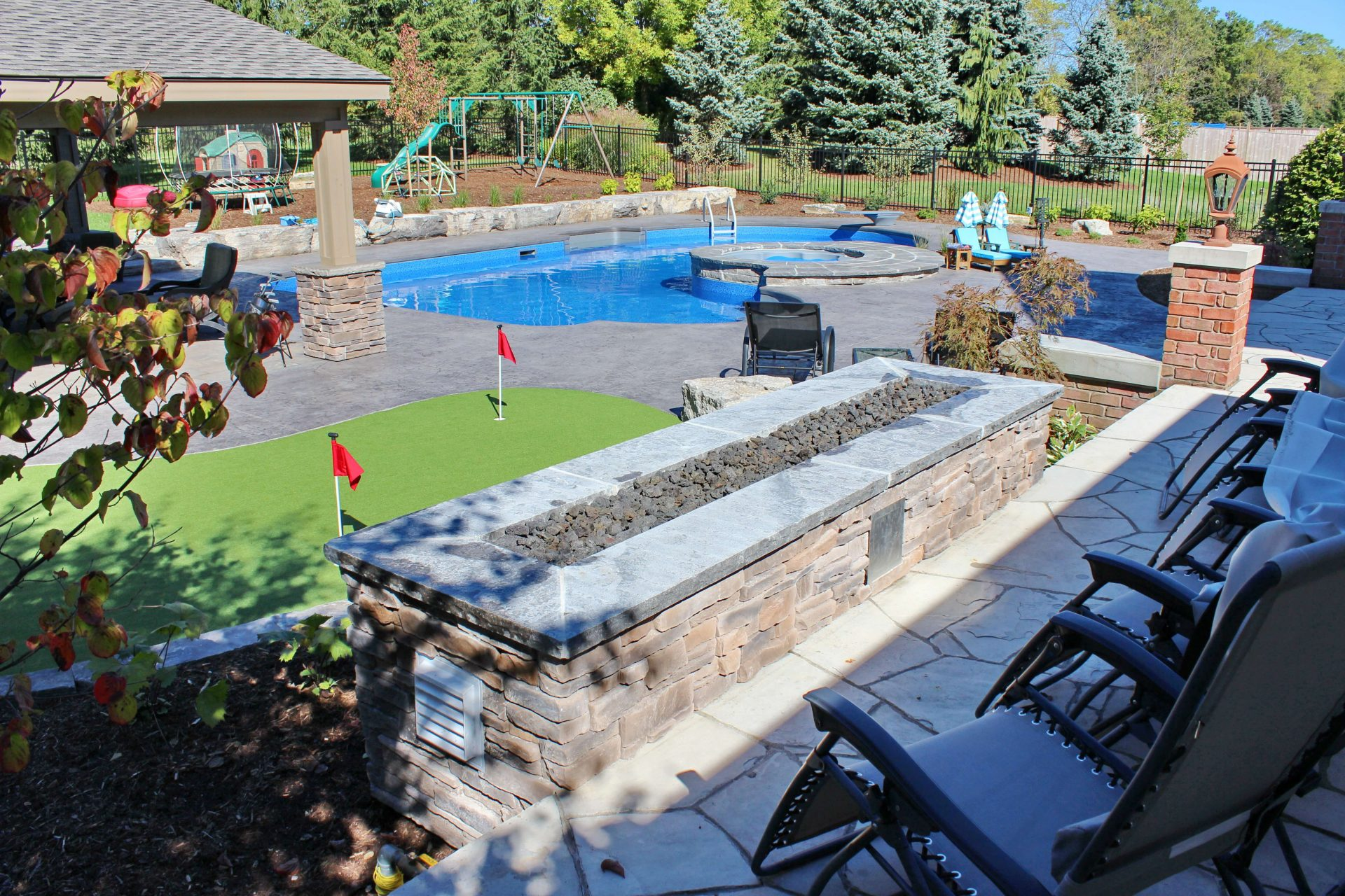 Swimming pool and miniature golf greens